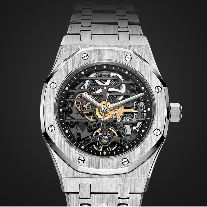 Fashion Men's Hollow Automatic Watches Sapphire Glass 50meters Water Resistance Stainlss Steel Wrist Watch For Men Male Gift New