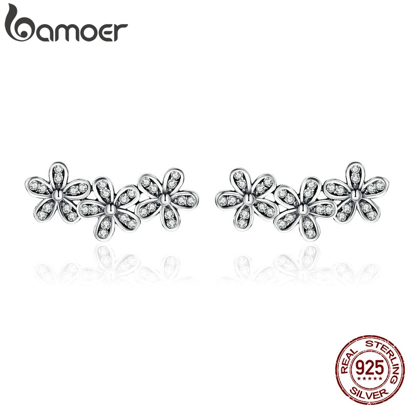 BAMOER Authentic 925 Sterling Silver Stackable Dazzling Daisies, Clear CZ Stud Earrings For Women Fine Jewelry Bijoux PAS506