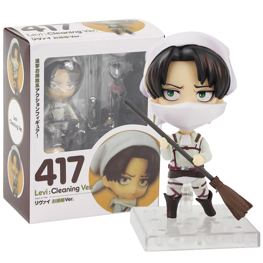 11cm Anime Attack On Titan Levi Cleaning Ver. Nendoroid 417 PVC Action Figure Collectible Model Toys