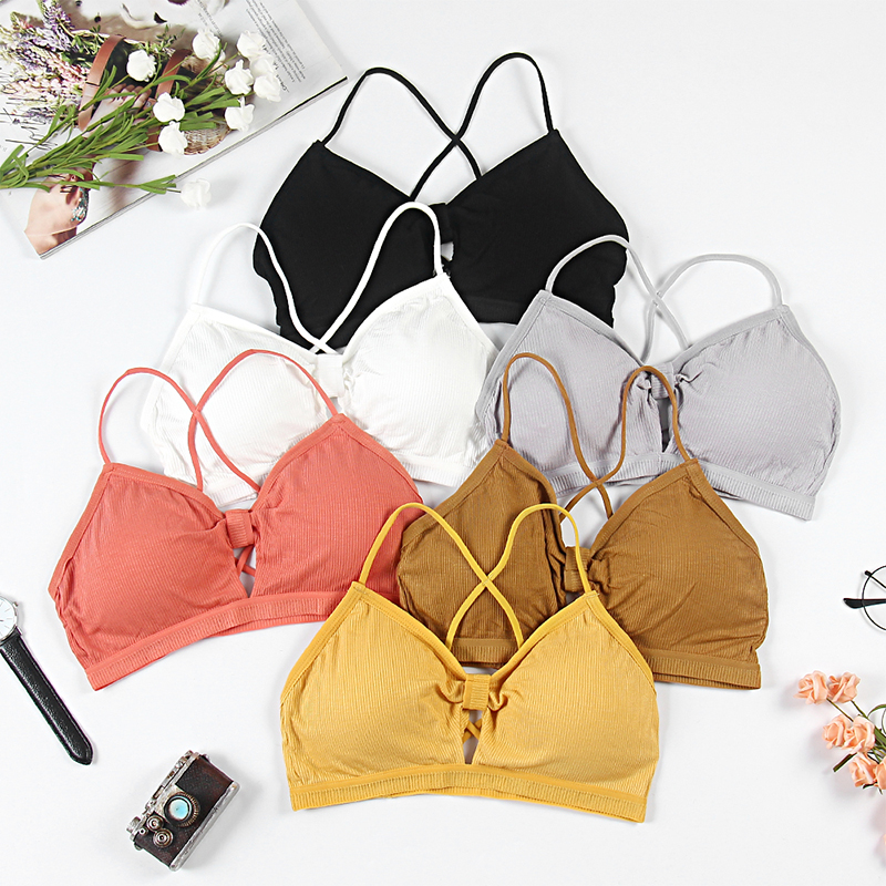 Sexy Lingerie Comfortable Breathable Wireless Bralette Breathable Bandeau Top Push Up Bra Brallet Croped Halter Cotton TopsB0147