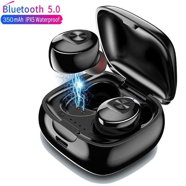 TWS słuchawki bezprzewodowe 5.0 prawdziwe słuchawki Bluetooth IPX5 wodoodporne słuchawki sportowe 3D dźwięk radia słuchawki z etui z funkcją ładowania