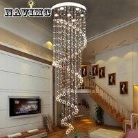 Luxo espiral de cristal longo lustre para loft iluminação da escada sala estar do hotel hall|Lustres| |  -