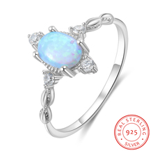 Elegant 925 Sterling Silver Rings for Women Cubic Zirconia Blue Oval Fire Opal Ring Silver 925 Jewelry Promise Statement Jewelry black cubic zirconia 925 sterling silver men s ring