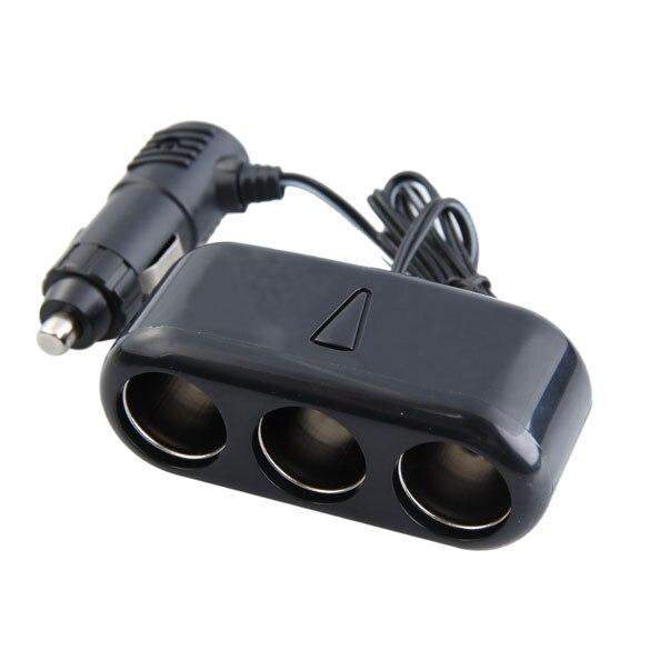 3 Ways Triple Car Cigarette Lighter Socket Splitter 12V Charger Adapter With Blue LED Charging Indicator For Mobile Phone GPS