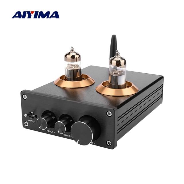 Aiyima bluetooth 5.0 hifi 6j5 튜브 프리 앰프 앰프 ne5532 프리 앰프 amplificador 톤 보드 treble bass 볼륨 조정