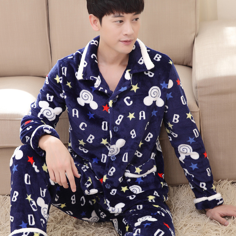 Winter Suit Oversize Thick Flannel Pyjamas Men Long Sleeve Coral Pyjamas Home Wear Casual Sleep Set 2Pcs Casual Home Clothing