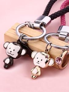 Image 3 - Milesi Liebhaber Keychain Affe Form Schlüssel Anhänger Strass Frauen Schlüssel Finder Mode Männer Auto Schlüsselring Nette Paar Geschenk K0197