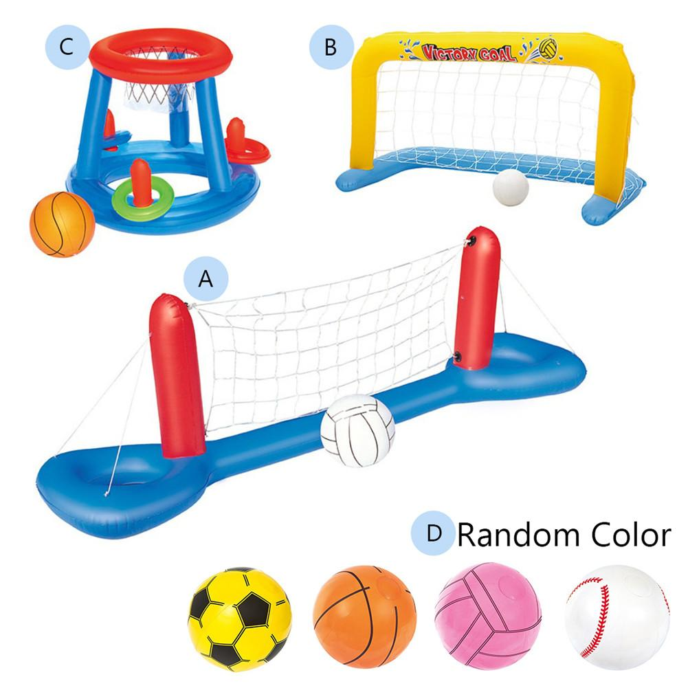 Water Inflatable Toy Swimming Pool Basketball Volleyball Handball Plastic Mesh Water Ball Play Model Set For Adult Children