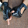 1 Pair Halloween Black Pu Leather Fingerless Gloves Female Half Finger Driving Women Fashion Punk Gloves Dance Rivets Gloves 2