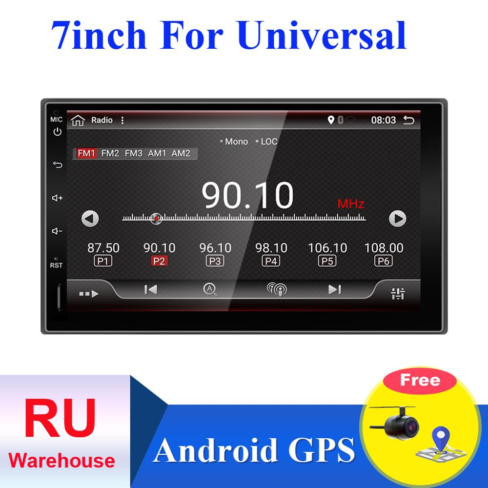 2 din Android 9.0 car radio cassette player recorder for nissan for hyundai universal 178*100mm bluetooth aux map camera
