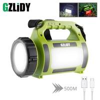High Power LED Flashlight Searchlight Spotlight Waterproof Torch Camping Light Side Red Light + White Light 5 Lighting Modes