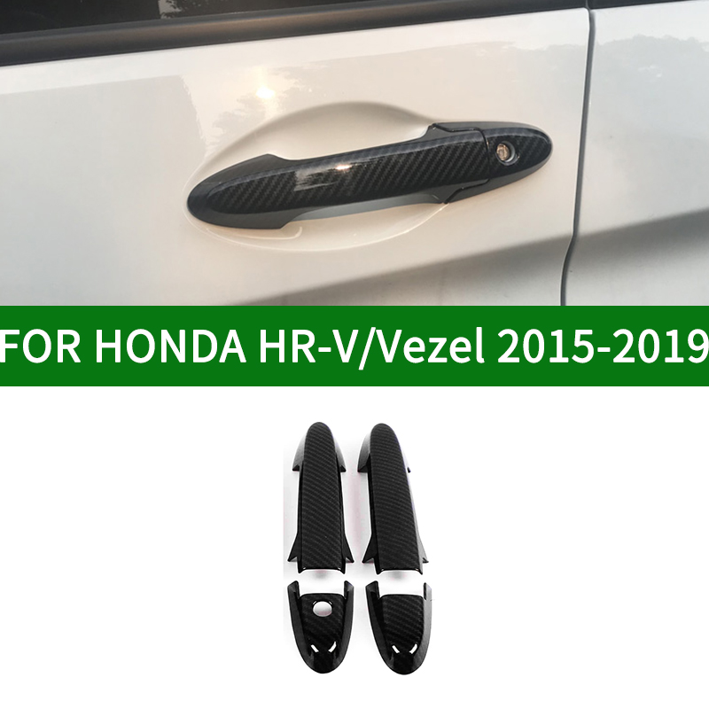For <font><b>Honda</b></font> Vezel <font><b>HRV</b></font> 2015 2016 2017 2018 2019 Black Carbon Fiber Style <font><b>Door</b></font> <font><b>Handle</b></font> Cover Bezel Trim HR-V image