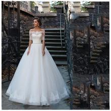LORIE Boho Wedding Dress A Line Lace Off The Shoulder Bridal Dress Half Sleeves Vintage  Backless Turkey Wedding Gown lace off shoulder half sleeves womens dress
