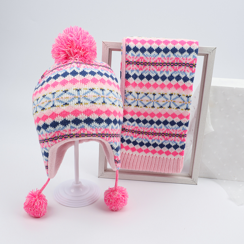 Girl Hat Scarf Set Winter Earflap Beanie Pink Acrylic Fleece Autumn Warm Pompon Dobby Skiing Outdoor Baby Accessory