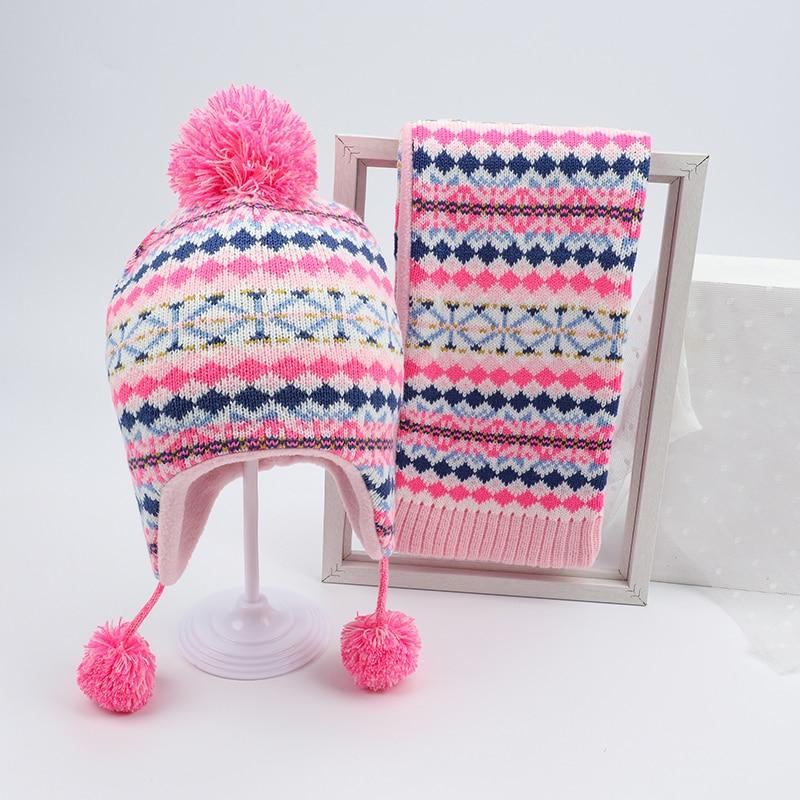 Girl Hat Scarf Set Winter Earflap Beanie Pink Acrylic Fleece Autumn Warm Pompon Dobby Skiing Outdoor Baby Accessory