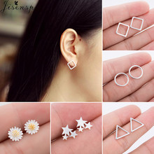 Jisensp Punk Hip Hop Geometric Stud Earrings Genuine 925 Sterling Silver Earing for Women Kids New Year Party Jewelry Gift(China)