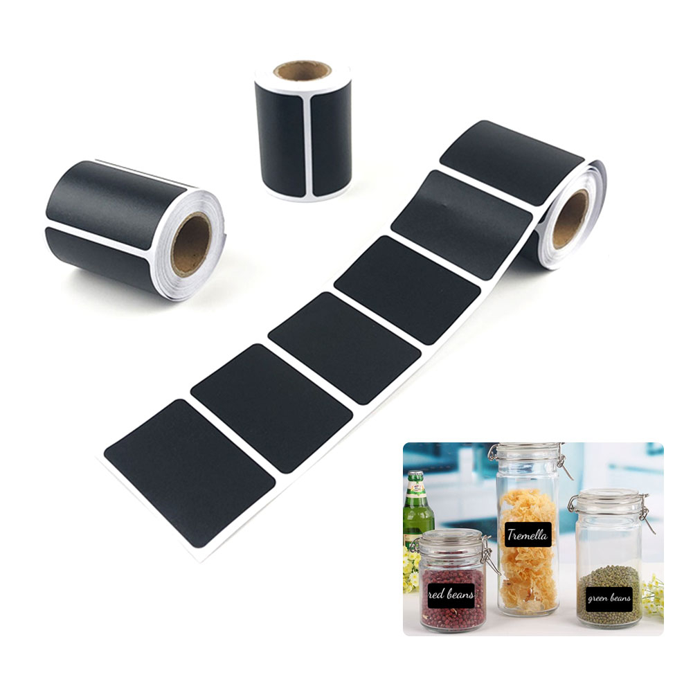 Waterproof Chalkboard Label <font><b>Stickers</b></font> Kitchen Spice Home Jam Jar Blackboard Labels <font><b>Stickers</b></font> Marker Pen <font><b>120pcs</b></font>/roll Bottle Tags image