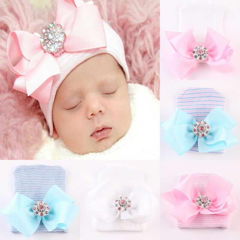 US Newborn Pink for Baby Infant Girl Boy Bowknot Diomand Hospital Cap Beanie Hat