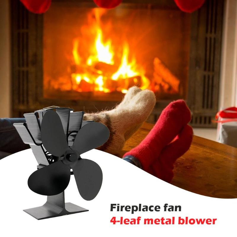 Black Fireplace 4 Blade Heat Powered Stove Fan Komin Log Wood Burner Eco Friendly Quiet Fan Home Efficient Heat Distribution