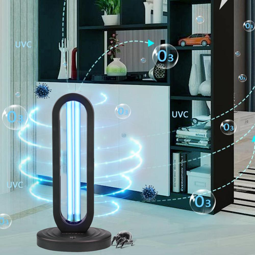 38W UVC Germicidal Disinfection Light Air Sanitizer Purifier Odor Eliminators For Rooms Cabinets Wardrobe Deodorizer Ozone Light