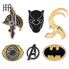 Avengers Superhero Dokter Aneh Mata Agomotto Batman Black Panther Rental Helm Marvel Logam Enamel Bros dan Pin Penggemar(China)