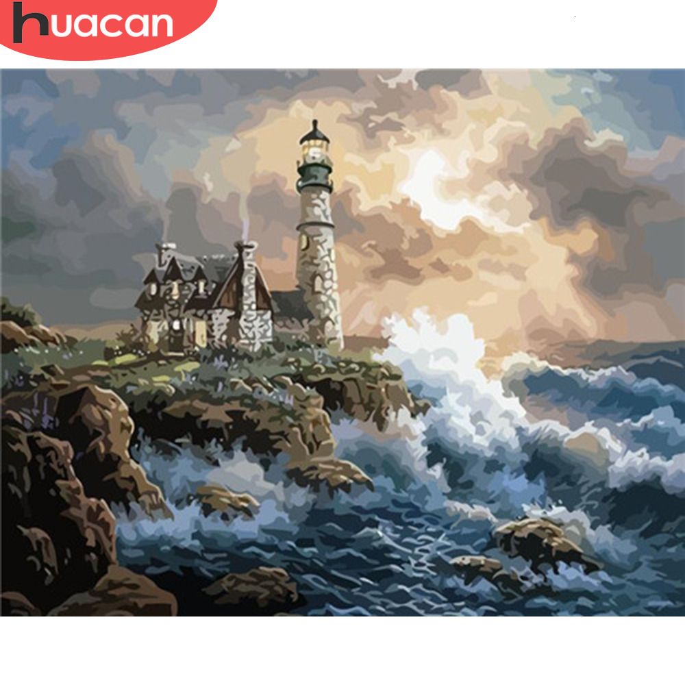 HUACAN Coloring By Numbers Lighthouse Landscape Paint Canvas Picture Oil Painting Sea HandPainted Home Decoration