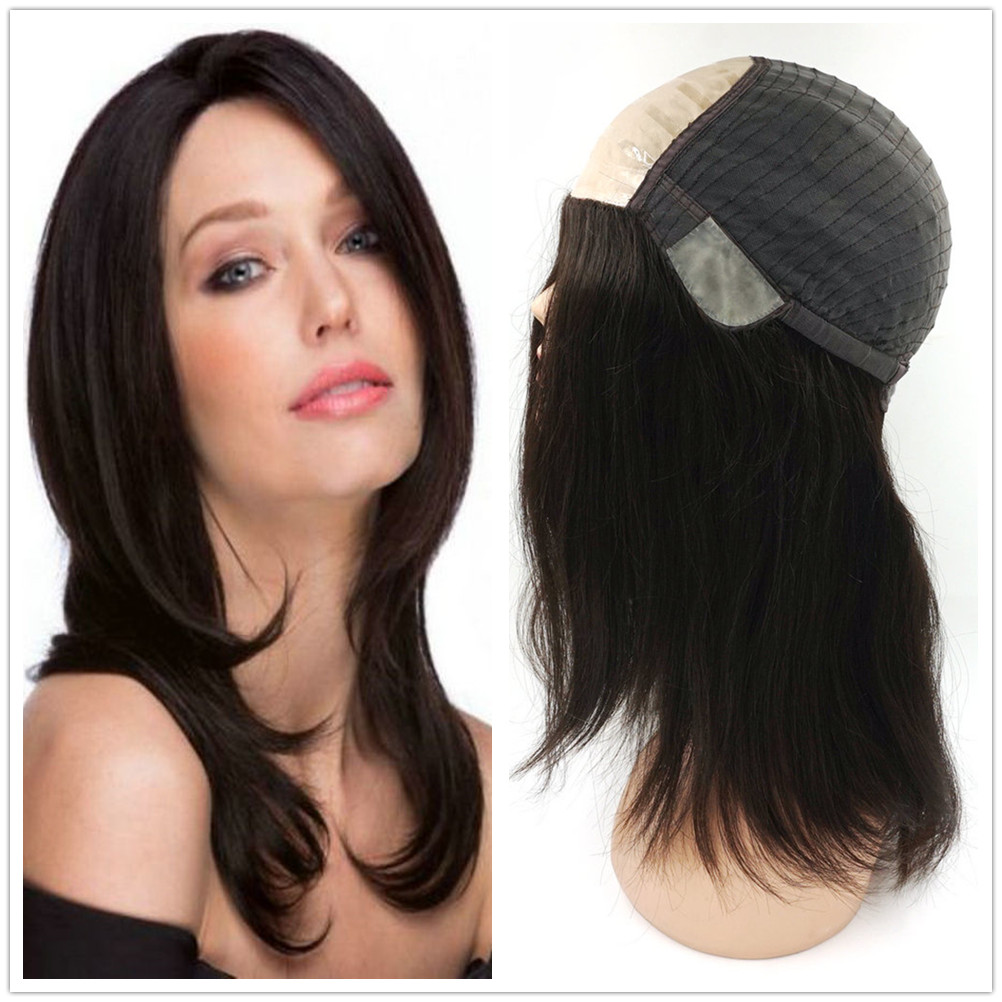 Hstonir Real European Remy Hair Folded Lace And Poly Coating In Front Wig White Women Fashion Hair Replacement Stock G028