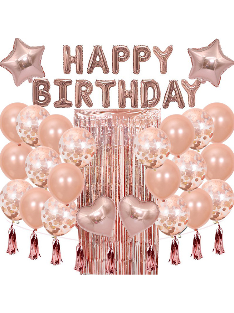 1 SetHappy Birthday Rose Gold Letter Foil Balloon Adult Birthday Party Decoration Confetti Rain Curtain Globos Anniversary-1