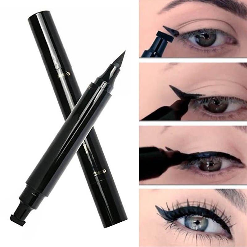 Waterproof Eyeliner Black Winged Liquid Eyeliner Stamp Cat Eye Pencil Thin Thick Cosmetic 2 In 1 TSLM1