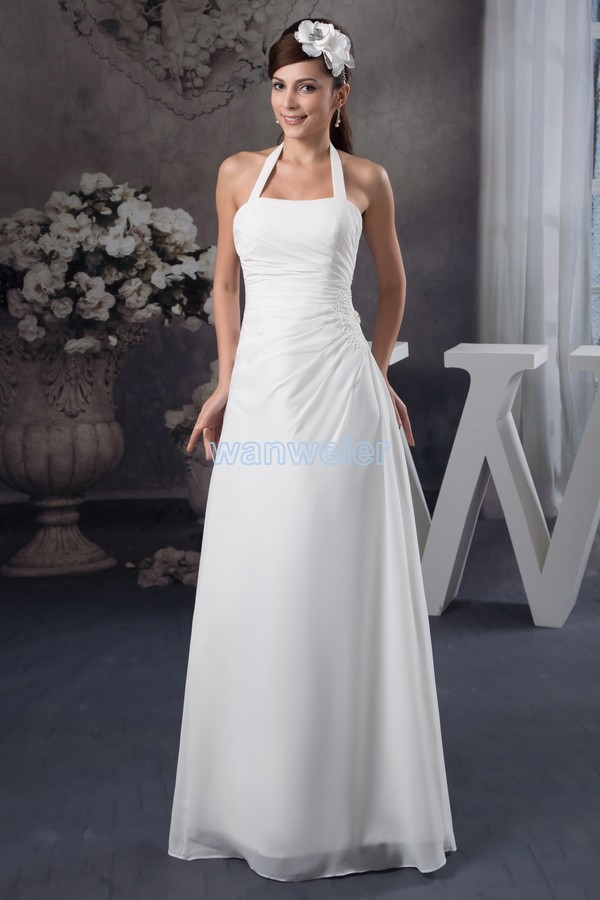 Free Shipping 2016 New Design Hot Sale Handmade Custom Size/color Halter White Mermaid Chiffon Country Style Bridesmaid Dresses