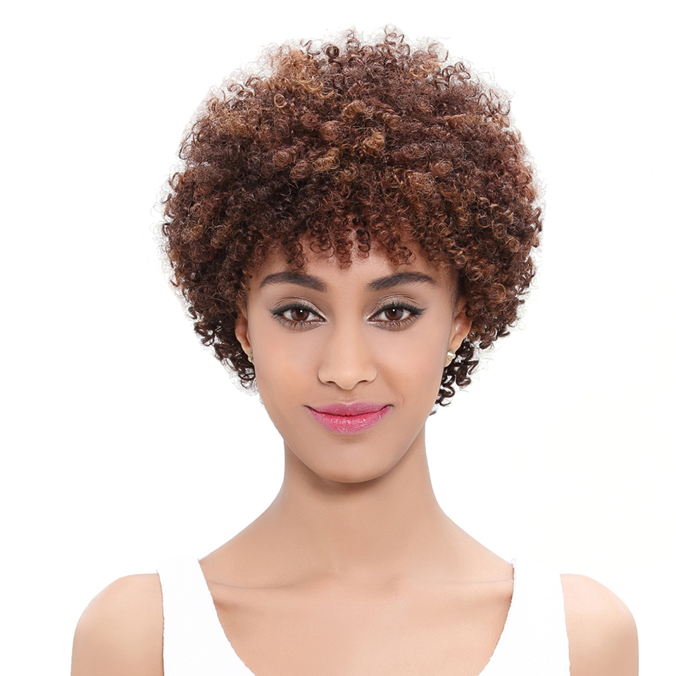 Image 2 - Pelucas de pelo humano Trueme, pelucas rizadas cortas para mujeres negras, Color marrón, Peluca de pelo humano rizado Afro brasileño, hechas a máquinaPelucas hechas a máquina   -