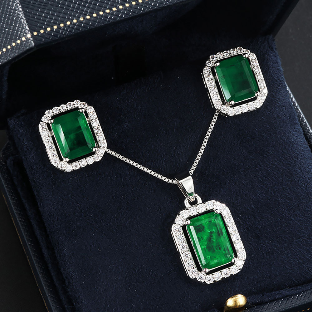 Винтаж 100% 925 серебро созданные Муассанит Изумруд Серьги с