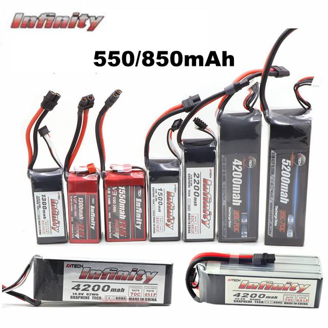 Infinity 550mAh <font><b>850mAh</b></font> 85C <font><b>2S</b></font> 3S 4S 11.1V 14.8V <font><b>LiPo</b></font> Battery JST SY60 XT60 XT30 Plugs for RC FPV Multicopter Model Drone image