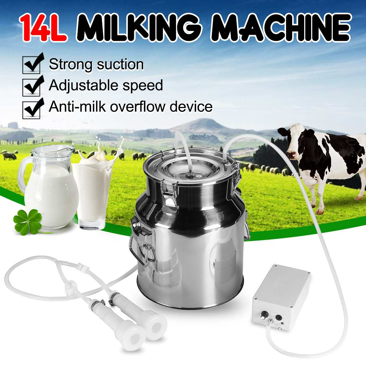 14L Electric Milking Machine Stainless Steel Bucket For Farm Pasture Cows Goats Stainless Steel Bucket Cow Goat Sheep Milker coffee table
