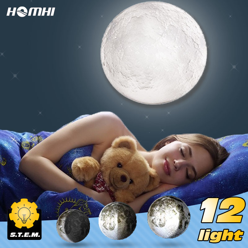 Moon light wall lamps for bedroom wall deco child room baby night light creative fixtures kids room light 3d print wall sconces-in LED Indoor Wall Lamps from Lights & Lighting