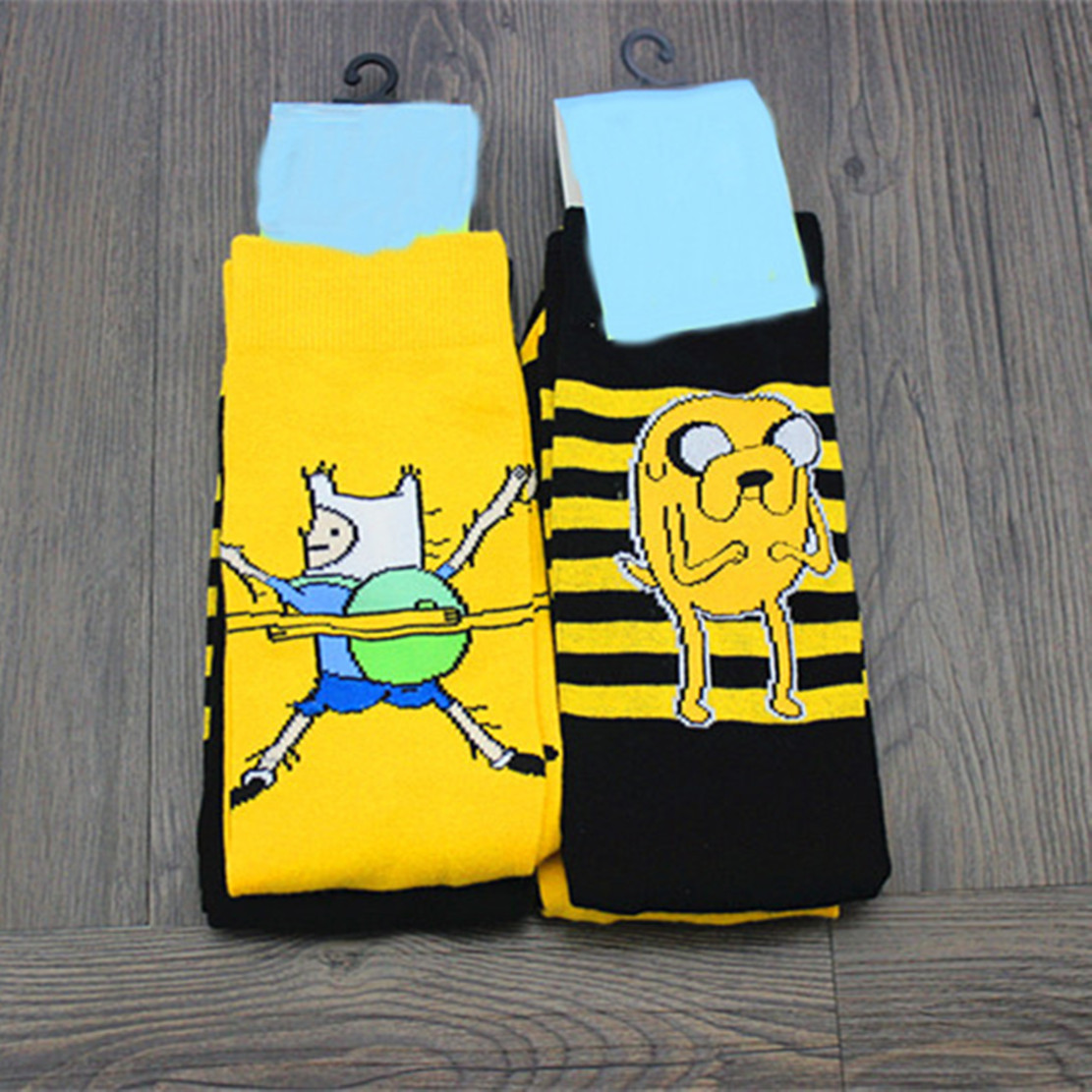 Adventure With Finn And Jake Cartoon Socks Fashion Harajuku Compression Happy Men Women Novelty Fun Yellow Cotton Crew Sock Time