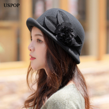 USPOP 2019 New women fedoras wool autumn hats flower short crimping brim