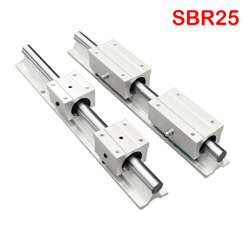 2pcs <font><b>linear</b></font> <font><b>rail</b></font> <font><b>SBR25</b></font> <font><b>linear</b></font> guide 1000mm 25mm <font><b>Linear</b></font> <font><b>rails</b></font> 4 pcs SBR25UU Ball Bearing Block CNC Router image