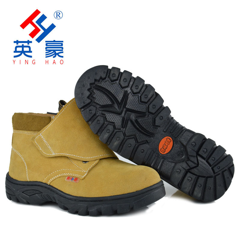 Factory Wholesale Welders Safety Shoes Hight-top Special Welding Large Covered Safety Shoes Yellow Cowhide Protective Shoes