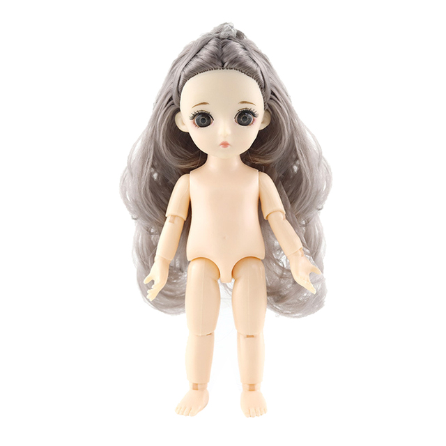 Movable Nude 13 Joints Doll Nude Body Painting Model DIY with Brown Hair