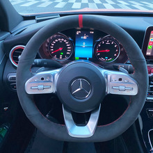 DIY Leather Steering Wheel Hand Sewing Wrap Cover Fit For Mercedes-Benz A-Class W177 2018-2019 B Class C Class CLS 2018-2020