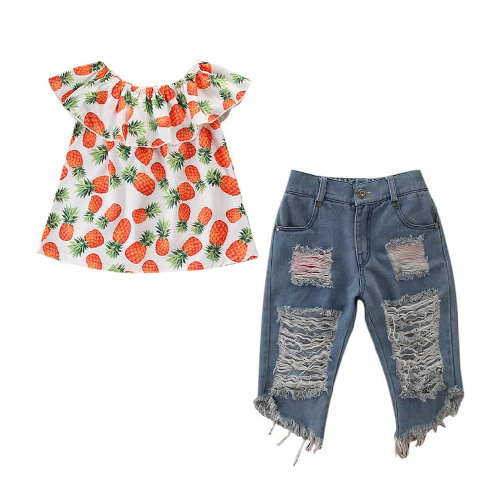 Telotuny 2020 novas meninas do bebê conjuntos de roupas recém-nascidos 2 pçs abacaxi impresso topos + buraco calças jeans conjuntos roupas infantis l217