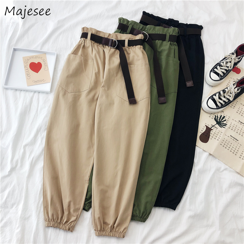 Pants Women Cargo 2XL BF Harajuku Harem Trousers Womens Solid Pockets All-match Ankle-length Casual Simple Loose Korean Style