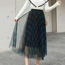 Summer New Women Mid-Calf Skirts Fashion High Waist Multi-Layer Mesh Skirts Chic Plaid Pleated Skirt