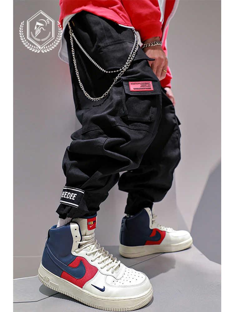 Homem solto safari estilo harem jogger calças moda bolsos tornozelo comprimento carga hip hop calças