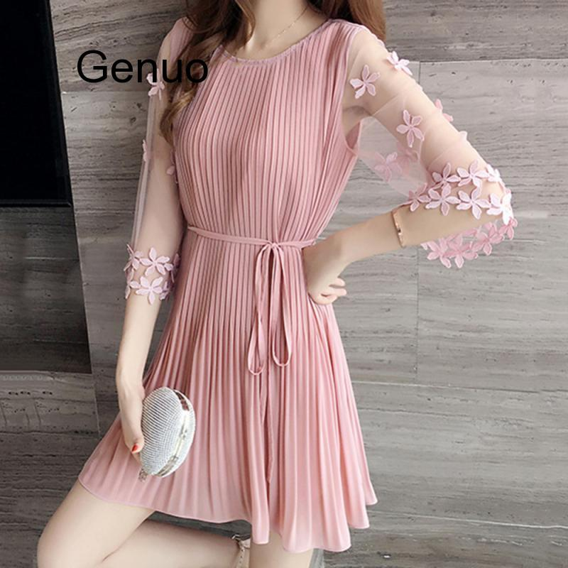Fashion Sweet Style Female Dresses Summer Short Sleeve Slim Pink Dress New Women Korean Black Elegant Dress