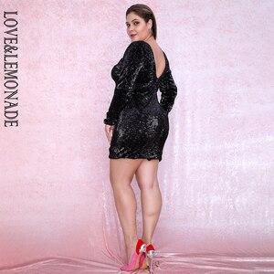 Image 5 - אהבה & לימונדה בתוספת גודל שחור עגול צוואר Bodycon לפתוח בחזרה אלסטי פאייטים המפלגה מיני שמלת LM80669PLUS