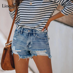 Liooil Sexy Hole Denim Shorts With Tassel Women 2021 Summer Mid Waisted Button Zipper Pockets Female Washed Vintage Slim Jeans