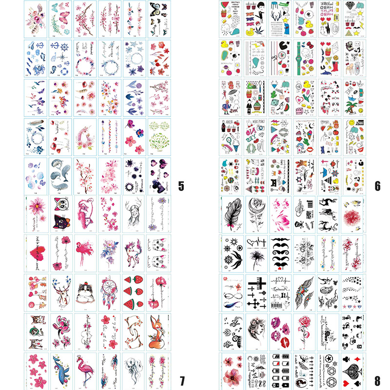 30 Sheets Cute Cartoon Temporary Tattoos Party Waterproof Kids Adults Removable Couple Fake Tattoos Sticker Dropshipping