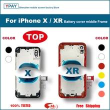 Dla iPhone X Xs XR tylna pokrywa baterii + środkowa rama podwozia + taca SIM + boczne części klucza obudowa tylnej obudowy